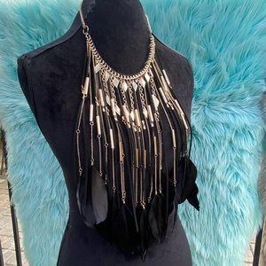 Natasha Feather Long Bib Necklace NATASHA COUTURE